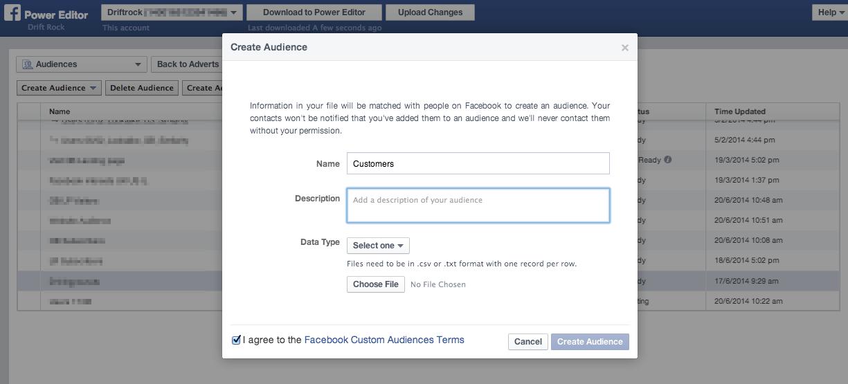 Create audience screenshot