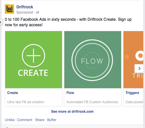 Driftrock Multi product ad