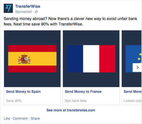 Transferwise multi product ad