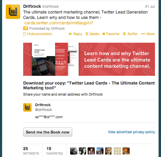 Content marketing using Twitter Lead Cards